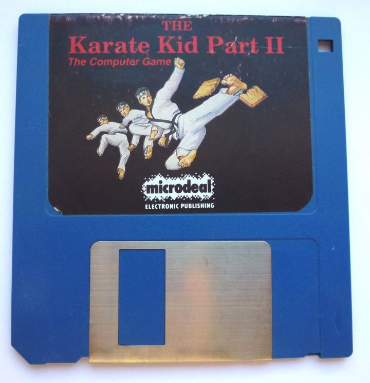 The Karate Kid Part 2 game for Commodore Amiga on floppy disk.