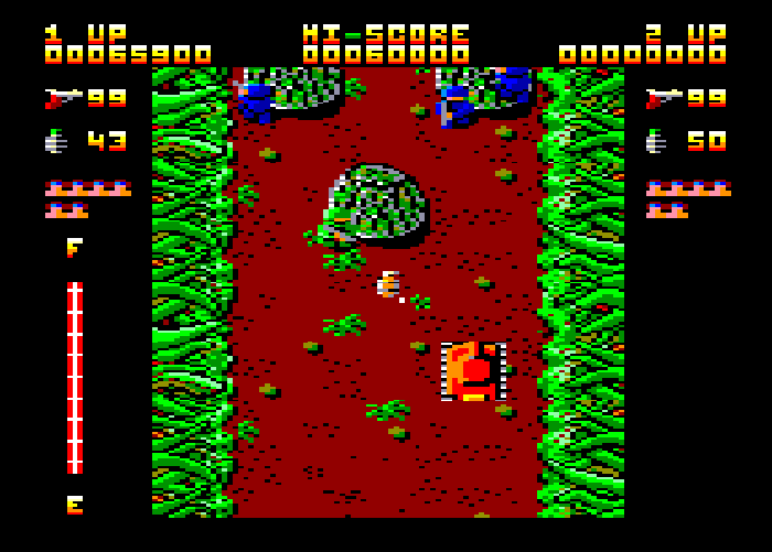A screenshot from Ikari Warriors on Amstrad CPC.