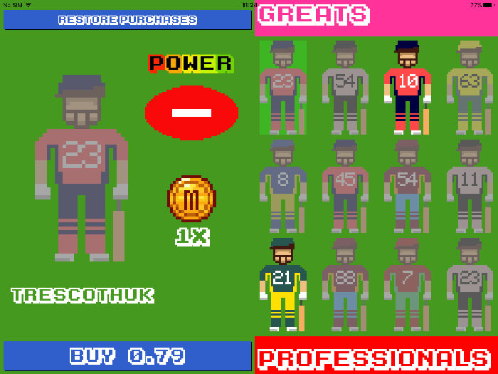 A screenshot showing players to earn and buy in the retro themed iOS game Flicky Cricket.