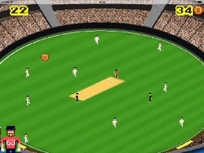 A screenshot from the iOS retro game Flicky Cricket.