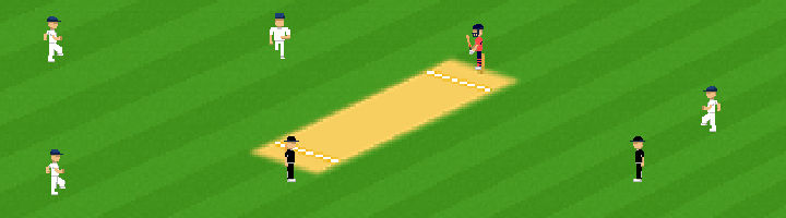 A screenshot from the iOS cricket game Flicky Cricket.