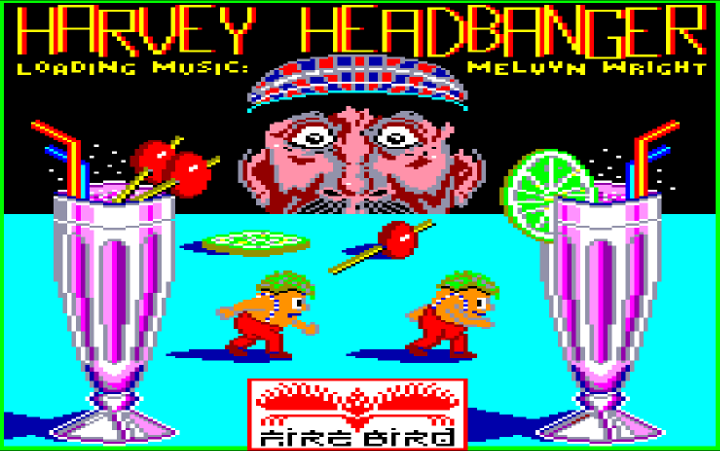 A loading screen from Harvey Headbanger on the Amstrad CPC.