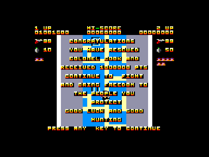 A screenshot of Ikari Warriors running on the Amstrad CPC