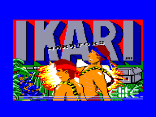 The loading screen of Ikari Warriors on the AMstrad CPC