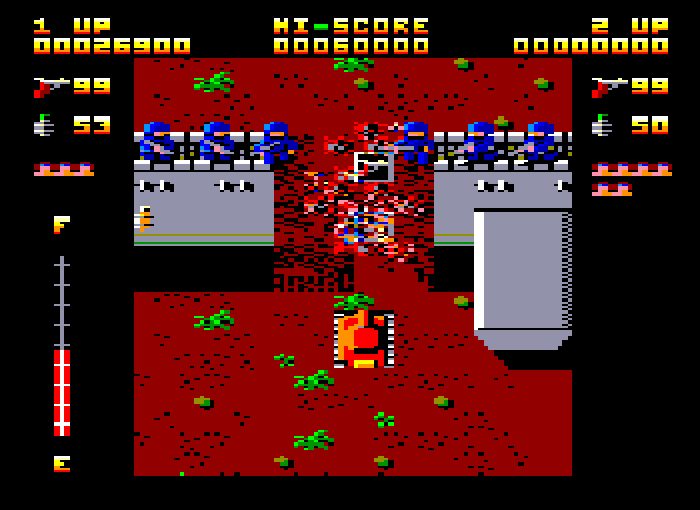 A screenshot from the Amstrad CPC version of Ikari Warriors.