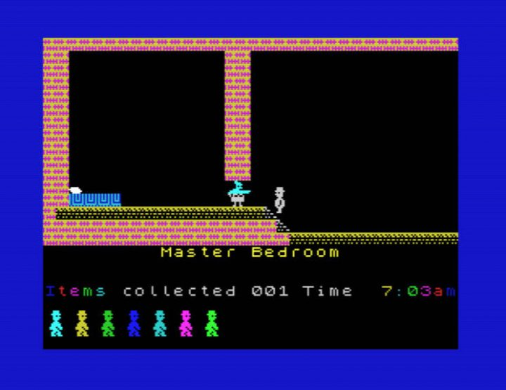 A screen shot from Jet Set Willy on the ZX Spectrum.