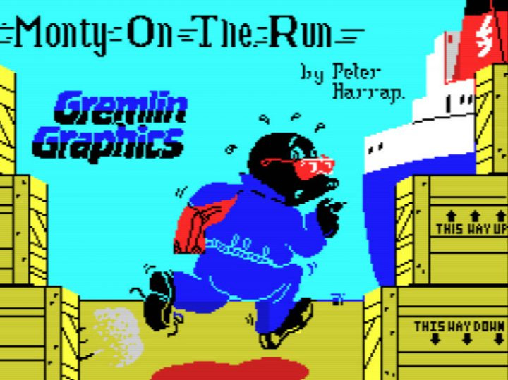 A screenshot from Monty on the Run on the Sinclair ZX Spectrum