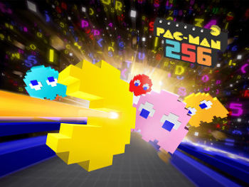 The title screen for Pac Man 256 by Hipster Whale.