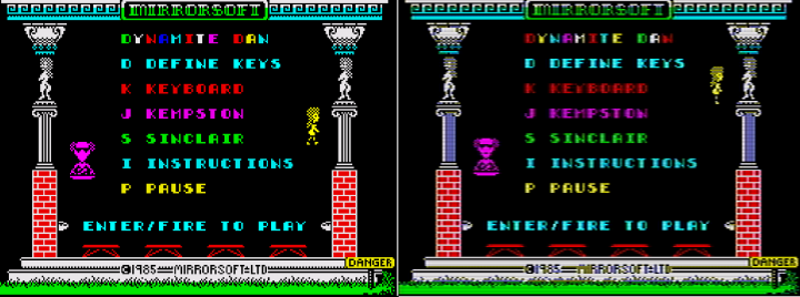 Before enabling TV mimic mode (left) and after (right). Note the fine horizontal scan lines, pixel blurring and some very slight ghosting. (Click the image to enlarge.)