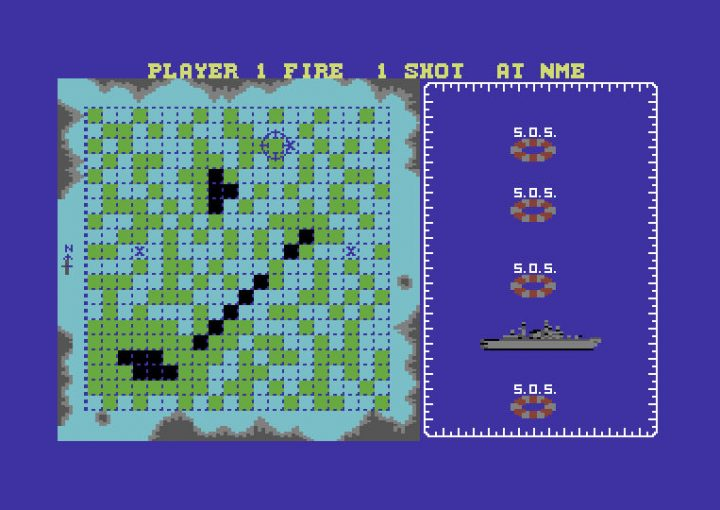 A screenshot from the C64 version of Battleships.