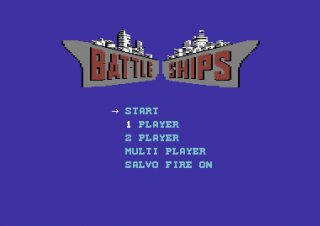 Title screen from the Commodore 64 games Battleships.