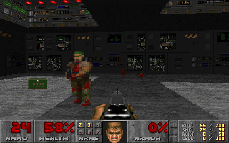 A screen shot from Doom Shareware.