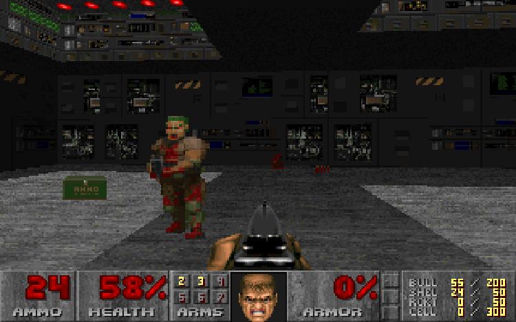 A screen shot from Doom Shareware.