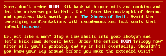 The final screen on Doom Shareware.