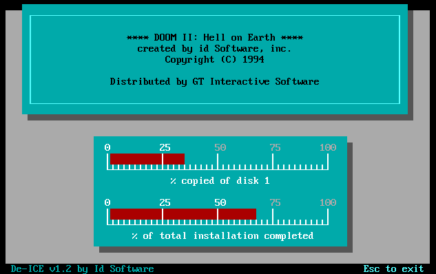 A screenshot of Doom Shareware installing.