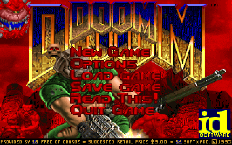 The title screen from Doom Shareware.