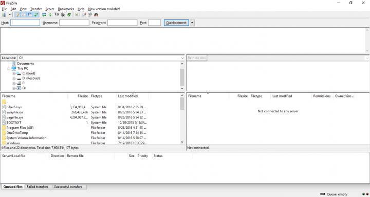 A Screenshot from FileZilla