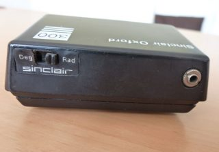 Rear view of a Sinclair Oxford 300 calculator.