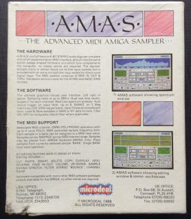 The back of the AMAS (Advanced MIDI Amiga Sampler) box.