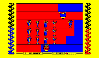 A screenshot from the Amstrad CPC version of Harvey Headbanger.