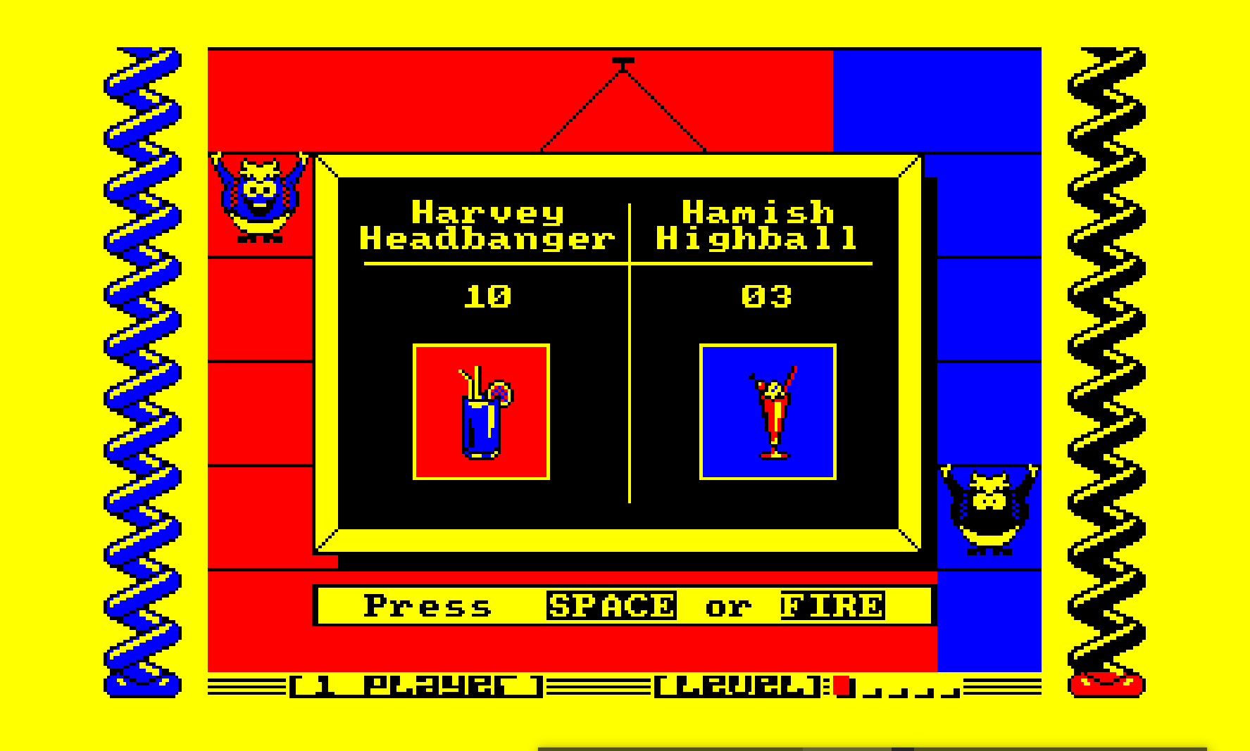 A screen shot from the Amstrad CPC version of Harvey Headbanger.