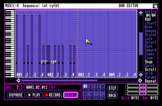 A screenshot from Music-X on the Commodore Amiga.