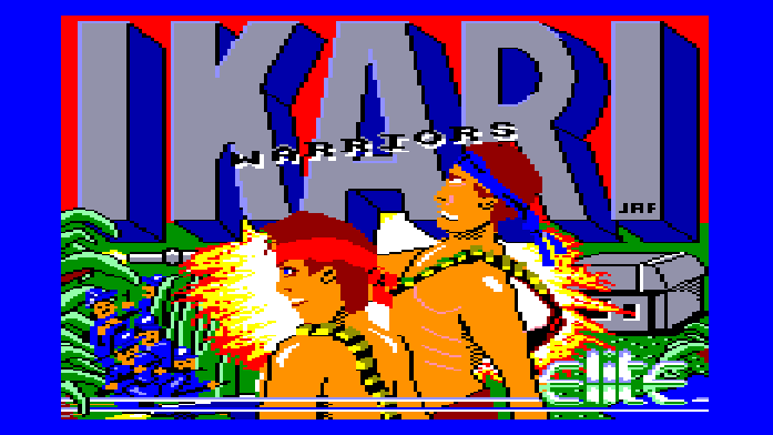 The loading screen from Ikari Warriors on the Amstrad CPC.